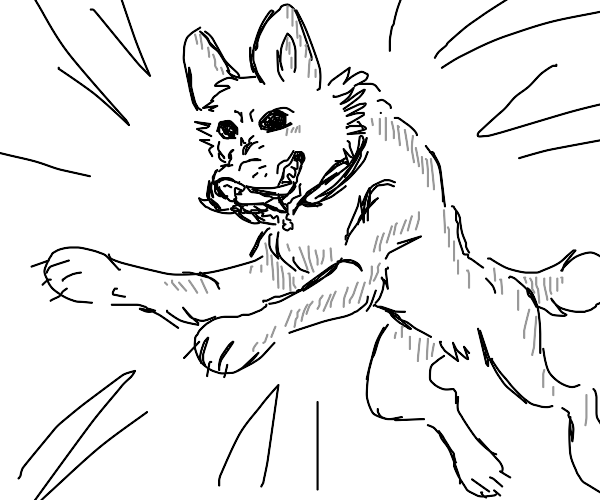jumping dog with tusks/fangs