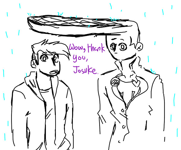 Jojo protects man from rain with his hair
