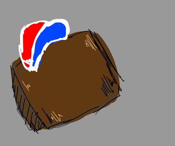 A wallet wearing a hat.