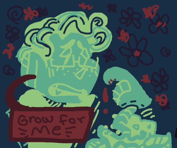 green man wants a pile of trash to grow