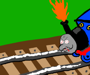 thomas the tank engine gets a bloody nose