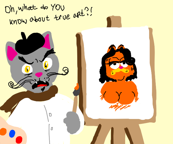 Angry cat painted a cat