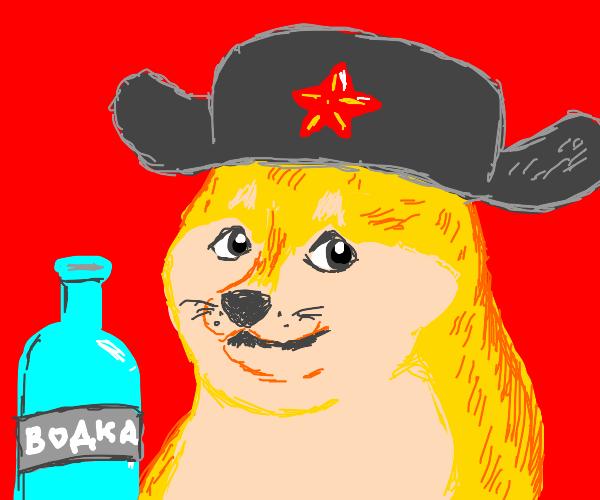 Comrade communist doge wearing ushanka