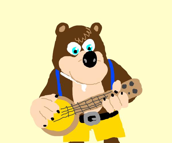 Bear playing the banjo