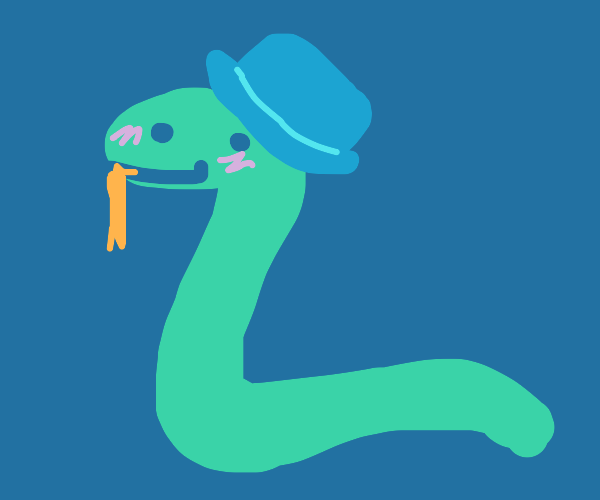 Cute snake with 19th century hat