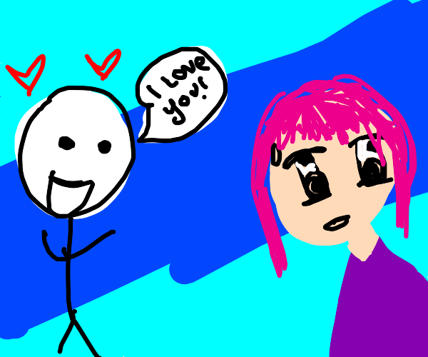 stick man confessing love to anime girl