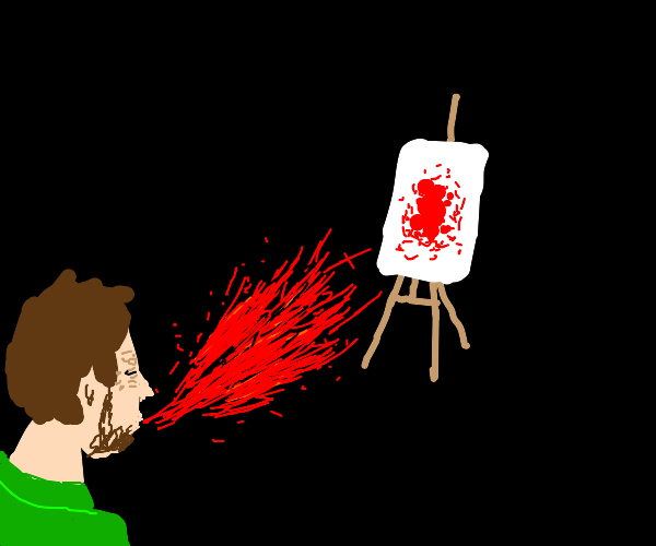 Sneezing red on a painting