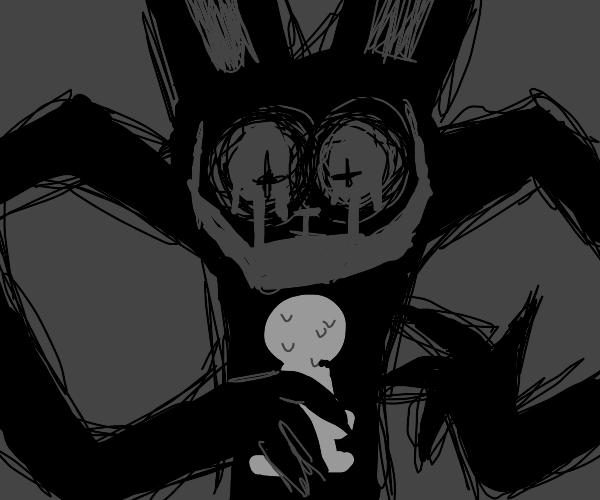Bunny rabbit demon eating child