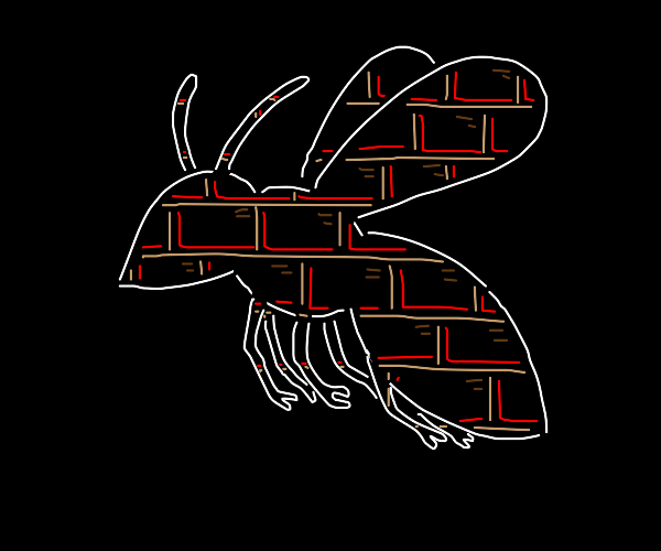 an animal shape filled with wall of bricks