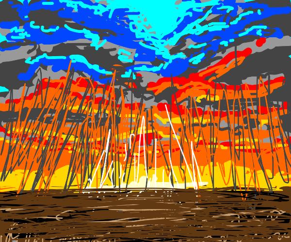 Lava clouds rain down water