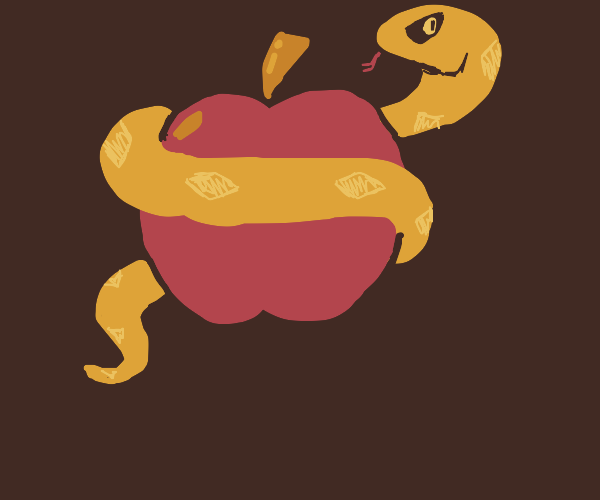 Snake wrapped around an apple