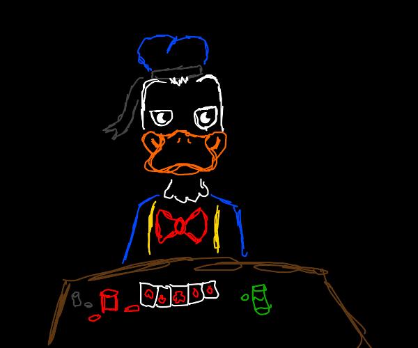 Duck playing poker
