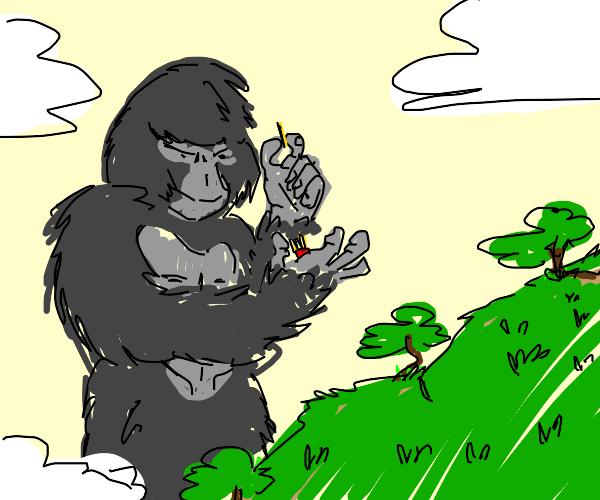 King Kong eats fries