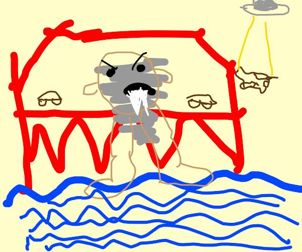 Tasmanian Devil sinking into a Bridge