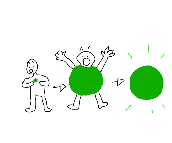 Man turns into green ball