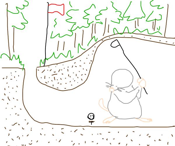 Golfball Mole Under a Forest