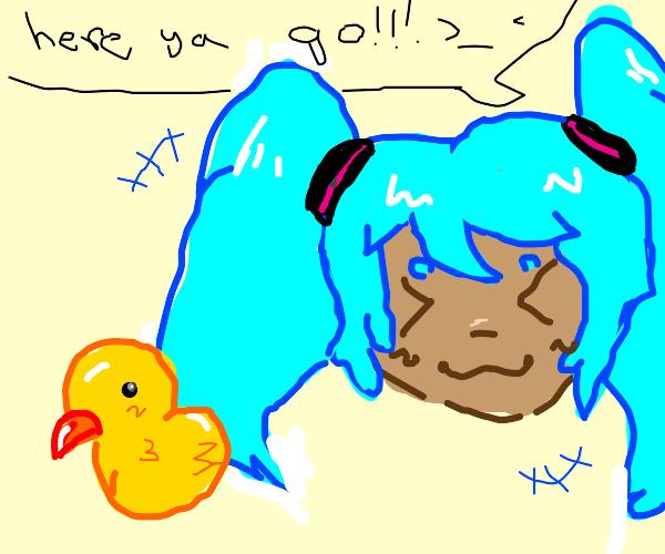 miku gives a duck