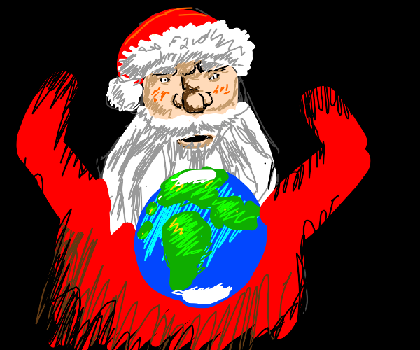 Giant Santa Next to earth