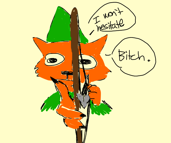 robin hood pointing his bow at you