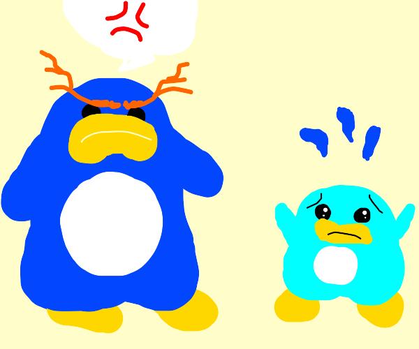 Adult penguin scares baby penguin