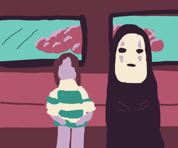 Spirited away characters sitting in bus