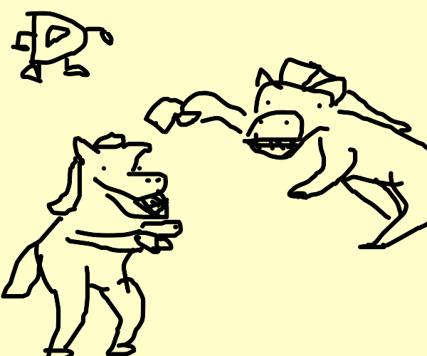 horses fight over drawception D
