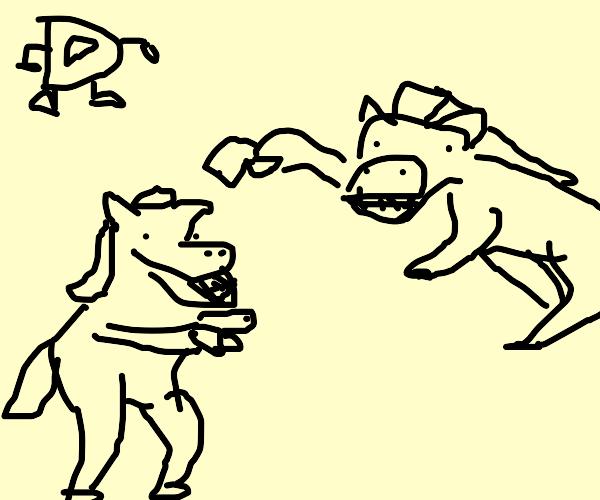 horses fight over drawception D