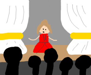 woman in a red dress performing in a theatre