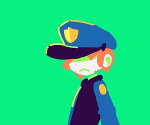 Sad police man