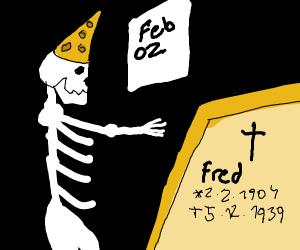A sceleton wishing Fred a happy birthday