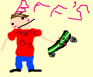 Boy loves and hugs a skateboard