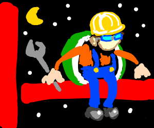 Construction Worker with turtle shell