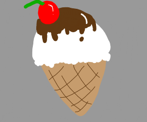 vanilla icecream cone w/ chocolate n cherry