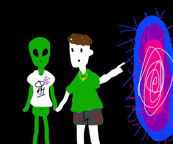 whiter guy going through a portal with alien