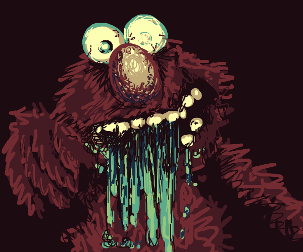 Zombie Elmo throws up infected bile