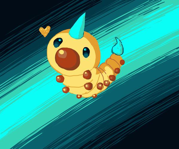 Kawaii yellow caterpillar