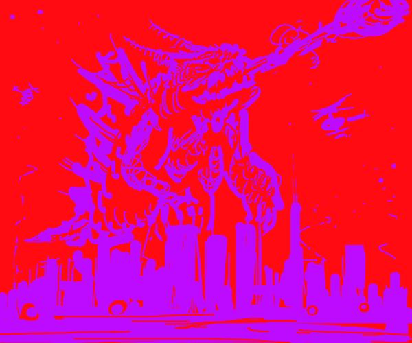 Dragon Godzilla over a purple city.