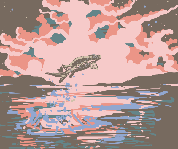 A river fish swims into the sunset
