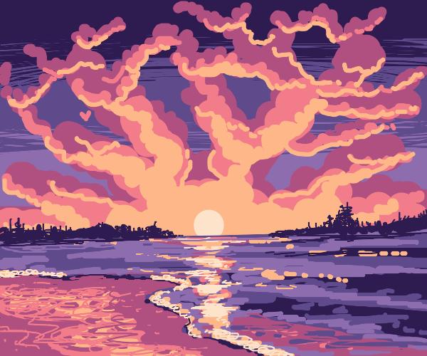 The sun rises over the purple sea
