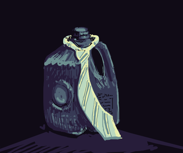 Milk jug, wearing a tie.