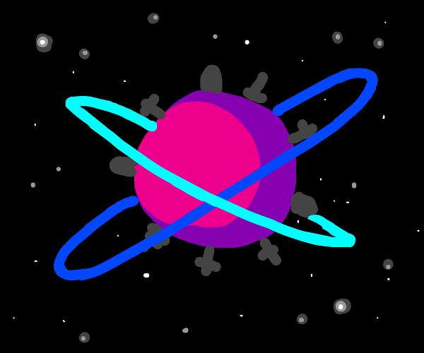 Pink graveyard planet has 2 blue crossd rings