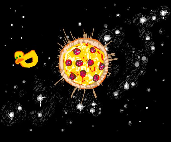 Duck in orbit around sun/pizza