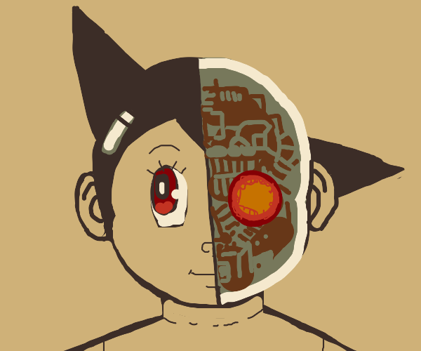 Astroboy, half face is robot