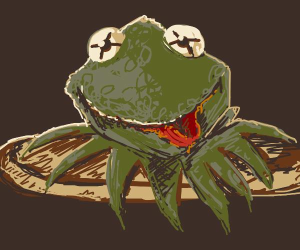 A Headless Kermit on a dish