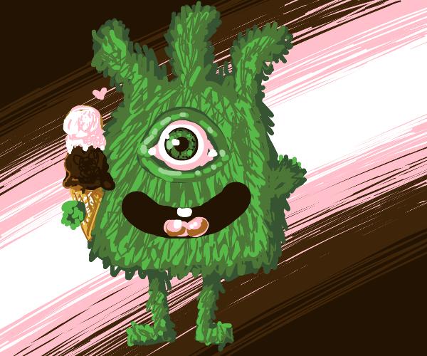 one eyed green monster loves ice-cream