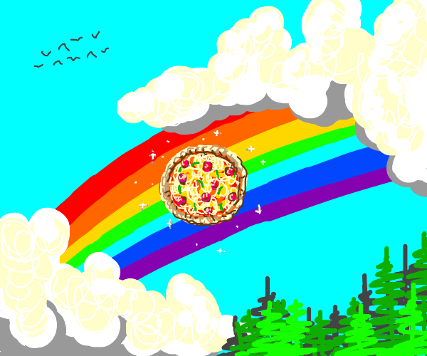 Pizza in a rainbow.