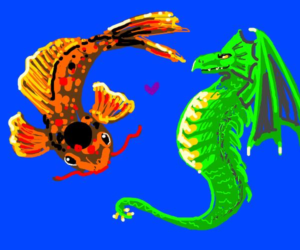 Cool koi and dragon like swimming