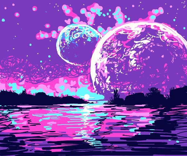 wetlands reflecting an alien sky