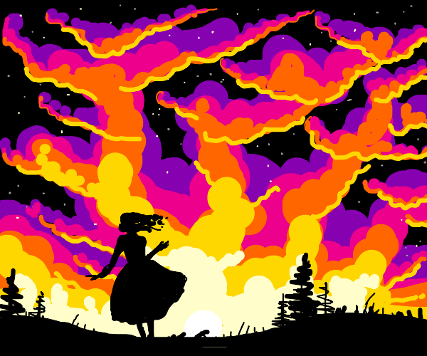 Lady in dress watching sunset