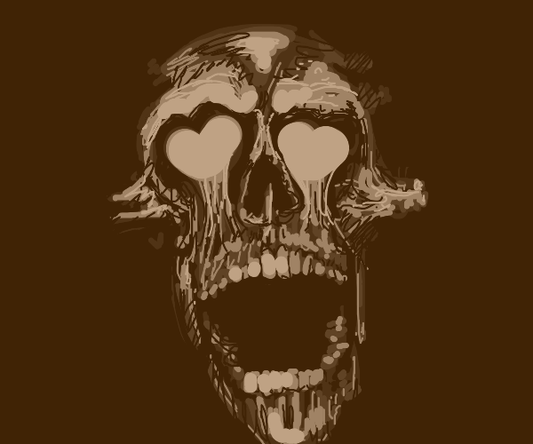 skull with open mouth and heart eyes, ahegao?